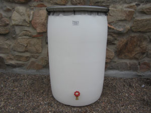 55 Gallon white rain barrel