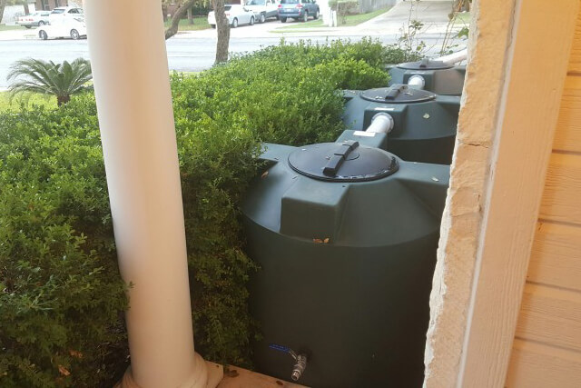 Three 200 Gallon Rain Harvesting Tanks